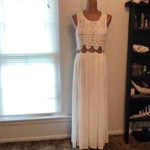 White Crotchet Maxi Dress